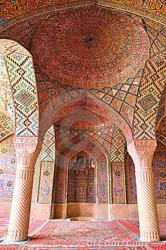 Dome interior and Mihrab of the Nasir al-Mulk Mosque.