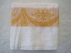 Vintage Linen Tablecloth Buttercup Brocade//Large by apotofbasil, $35.00