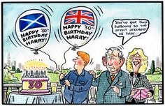 2014-09-15 Happy 30th, Daily Express, British Royals, Balloons, Royalty, England, Queen, Cartoon, This Or That Questions