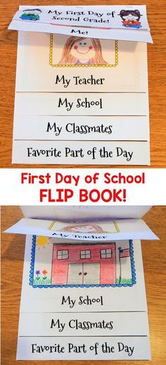Have your children make this cute First Day of School flip book to help them remember their very fir First Day Of School Activities, Kindergarten First Day, 1st Day Of School, First Grade Classroom, Beginning Of The School Year, School Fun, Preschool Activities, Back To School Ideas For Teachers, Preschool First Day