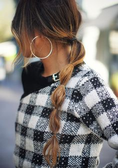 Colorblock Plaid Sweater Dress by Phillip Lim Cute Ponytail Hairstyles, Cute Ponytails, Cool Hairstyles, Sporty Hairstyles, Updo Hairstyle, Wedding Hairstyles, Look Fashion, Fashion Beauty, Bubble Ponytail