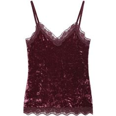 Velvet and Lace Vest Top (365 MXN) ❤ liked on Polyvore featuring tops, lace tank, purple tank, purple top, lacy tank tops and lace top