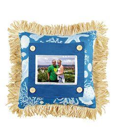 $18.99 marked down from $33! Blue Shells Picture Pillow #beach #shells #nautical #decor #gift #zulilyfinds