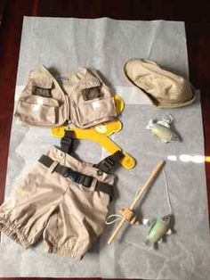 Build a Bear Clothes fishing outfit 5pc pants, vest, fishing pole, fish and hat - BRAND NEW eBay