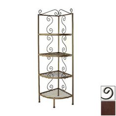 Grace Collection�Aged Iron Corner Bakers Rack