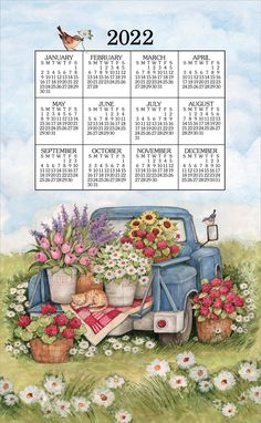 """Flower Truck Kitchen Towel Calendar features a vintage truck with beautiful flowers, sitting within luscious meadows. The calendar gives proof to the adage, """"What was old is new again"""". The classic cloth features a bright, rustic image that cheers up a room and includes the entire calendar year for quick reference. At the end of the year, don't discard it - collect it or use it as a environment-friendly kitchen towel. Continue the homespun towel calendar tradition by hanging one in your home or Yearly Calendar, Calendar 2020, Today Calendar, Flower Truck, Calendar Wallpaper, Cheer Up, Beautiful Flowers, Beautiful Wall, Bullet Journal"""