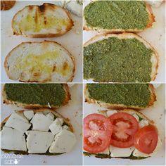 Sándwich caprese a la parrilla (pesto, tomate, queso mozzarella y albahaca)
