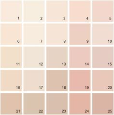 1. Warm Blush 2. Opal 3. Sunset Hill 4. Soft Shell 5. East Lake Rose 6. Peach Cooler 7. Ambrosia 8. Sheer Pink 9. Precocious 10. Sugarcane 11. Aphrodite Pink 12. Beautiful In My Eyes 13. Coastal Cottage 14. Frosted Rose 15. Rosetone 16. Love Always 17. Tissue Pink 18. Milk Shake 19. Romantica 20. Sweet Romance 21. Georgetown PinkBeige 22. Boudoir 23. Crossroads 24. Crazy For You 25. Ciao Bella