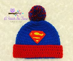 Crochet Beanie Ideas Superman Crochet Beanie/Hat with Trim and Pompom PDF Pattern Newborn-Adult Sizes Crochet Baby Hats Free Pattern, Crochet Hats For Boys, Loom Knitting, Knitting Patterns, Crochet Patterns, Free Knitting, Crochet Beanie Hat, Knitted Hats, Superman Crochet