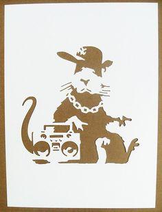 A Bansky Rat stencil.  Pretty Cool!