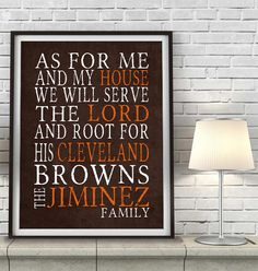 "Cleveland Browns football inspired Personalized Customized Art Print- ""As for Me"" Parody- Unframed Print"