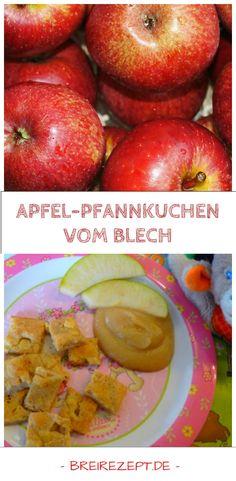 Apfel-Pfannkuchen vom Blech sind eine leckere Zwischenmahlzeit für Baby, Kleinkind und die ganze Familie. Wer Pfannkuchen liebt, wird dieses zuckerfreie Rezept vom Blech mit Äpfeln sicher auch gern mögen: http://www.breirezept.de/rezept_apfelpfannkuchen_mit_vollkornmehl_aus_dem_backofen.html