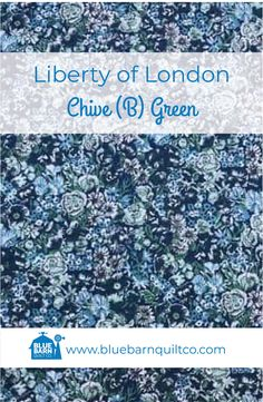 $45 CAD per yard. Liberty of London Fabrics Chive (B) Green. Tana Lawn Collection. For the classical story, the Liberty Fabrics team selected the prints that have become paradigms of particular styles of Liberty London prints. 100% Cotton Lawn 54″ wide. Sold by the 1/4 yard or in Fat Quarters, ships to Canada and USA. #libertylove #libertyfabric #libertyoflondonfabric#modernquilting #longarmquilting  #canadianquiltshop #sewcanadian #onlinequiltshop #onlinequiltstore #onlinefabricshop Liberty Of London Fabric, Liberty Fabric, Longarm Quilting, Fat Quarters, Lawn, Blue Green, Fabrics, Ships, Canada