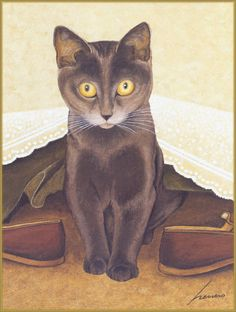 Cats in Art, Illustration, Photography, Decorative Arts, Textiles, Needlework and Design: Lowell Herrero