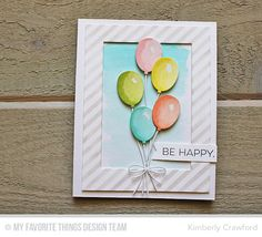 Totally Happy, Birthday Balloons Die-namics, Blueprints 26 Die-namics, Rectangle Frames Die-namics, Diagonal Stripes Stencil - Kimberly Crawford  #mftstamps