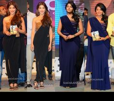 When Shruti tweeted a pic of herself in the Shantanu and Nikhil, wonder if she knew that her co-star Anjali was also going to be in one. Both the leading ladies of attended the audio launch of Balupu wearing draped jersey saris from their recent Fall collection, albeit modern versions with Shruti's being over pants and Anjali's a skirt.