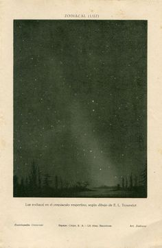 Vintage Astronomy Print, Zodiacal Light, Scientific Print, Drawing by Trouvelot