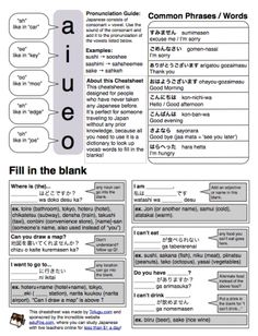 Japanese Cheat Sheet for those with no Japanese experience.