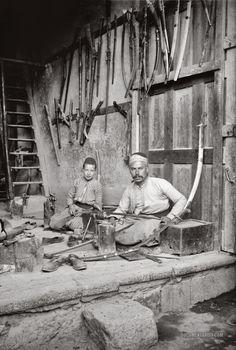 Damascene sword maker. Damascus, Syria. 1900-1920.