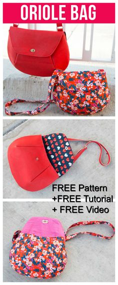 """With this Crossbody Bag you get so much help it's amazing and it's all FREE. With the Oriole Crossbody bag, you get a FREE pattern, together with a FREE tutorial and a FREE """"how to"""" video to watch. Easy Sewing Projects, Sewing Projects For Beginners, Sewing Hacks, Sewing Tutorials, Sewing Tips, Bags Sewing, Bag Tutorials, Bag Patterns To Sew, Sewing Patterns Free"""