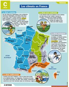 I agree with the climat in France ( with my region ) . The summer is very hot and dry but the winter isn't very cold ,we don't have snow here , very rare Ap French, Core French, French History, Learn French, French Teaching Resources, Teaching French, French Education, France Map, French Grammar