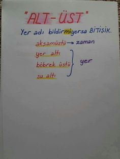 """Writing the words """"lower"""" and """"upper"""" Merida, Turkish Lessons, Learn Turkish Language, English Verbs, Grammar Rules, Study Hard, School Notes, Study Notes, Study Motivation"""