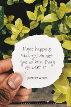 Magic happens when you do not give up even tough you want to. | Inspirational quotes | motivational quotes | motivation | personal growth and development | quotes to live by | mindset | self-care | strength | courage | You are enough | passion | dreams | goals | Journeystrength  #InspirationalQuotes  |  #motivationalquotes |  #quotes  |  #quoteoftheday  |  #quotestoliveby  |  #quotesdaily