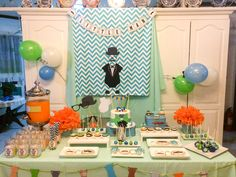 Little Man dessert table for a boy baby shower