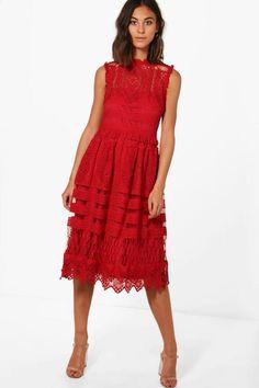 0616f4b19c Boutique Paula Lace Midi Skater Dress Midi Skater Dress