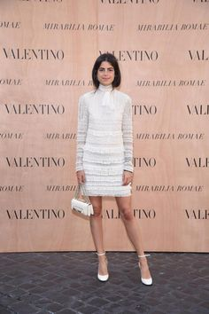 Leandra Medine wearing a Valentino dress from the Fall Winter 15/16 collection and a Valentino Garavani Vavavoom bag to the Mirabilia Romae Haute Couture Show, on July 9th 2015.
