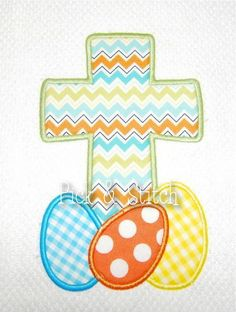 Easter Egg Cross Applique Design Machine Embroidery INSTANT DOWNLOAD