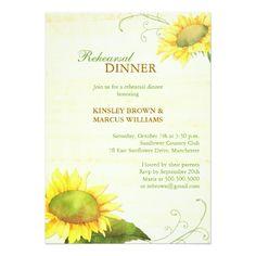 Sunflower Wedding Rehearsal Dinner Sassy Country Sunflowers Rehearsal Dinner Card