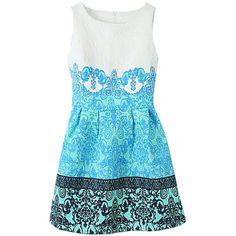 Blue Vintage Floral Ladies Elegant Slim Flare Skater Dress found on Polyvore