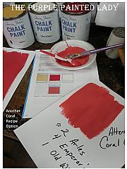 I had posted a custom Coral recipe a while back using Barcelona Orange as one of the components, but I had a customer write me who already owned Arles and was hoping we could help her as so she could save on money and use the Chalk Paint® she already owned, versus having to buy the Orange too. So- here is a 2nd option for a custom Coral using approximately 4 parts Emperor's Silk, 2 parts Arles and 1 part Old White. I hope that this was helpful.  Trish ~ The Purple Painted Lady