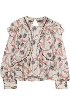Isabel Marant - Uster Studded Lace-trimmed Printed Cotton Blouse - Ecru - FR