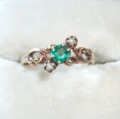 Antique Victorian 1/4 Ct Emerald Seed Pearl 10K by feathersoup, $55.00 SOLD JUly 18