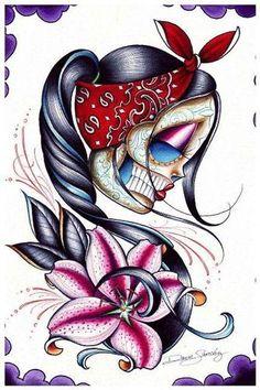 Star Gazer by Dave Sanchez Art Print Girly Cholita Day of The Dead Sugar Skull | eBay