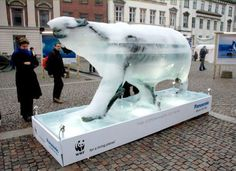 It's a polar bear made out of ice. It melts to leave only a skeleton. It's commentary on climate change/global warming