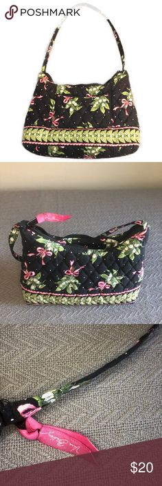 Vera Bradley New Hope Handbag Small Vera Bradly New Hope handbag. In very good preowned condition, no stains, tears, etc. Measures approximately 12 inches across at the widest point.  Smoke free, cat friendly home. My items are kept in a room the cats can't access.  I ship daily Monday-Friday! Offers accepted through the Make Offers Button. Vera Bradley Bags