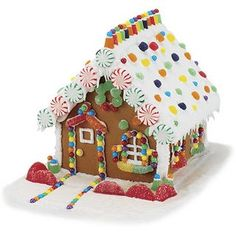 Gingerbread house with peppermint candies