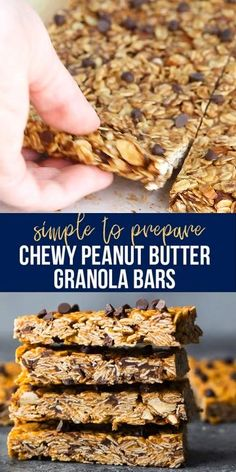 Chewy peanut butter granola bars made with healthy ingredients and no refined sugar! Full of peanut butter flavor, easy to prepare (no oven required!) and perfect for a healthier treat. #sweetpeasandsaffron #granolabars #nooven #healthydessert #norefinedsugar #video Granola Bars Peanut Butter, Chocolate Chip Granola Bars, No Bake Granola Bars, Peanut Butter Roll, Keto Chocolate Chips, Healthy Baking, Healthy Snacks, Study Snacks, Cake Recipes