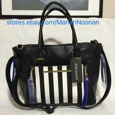 New Steve Madden Tote Satchel Purse Handbag Blue Black White Stripe DR114535 | eBay