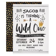 Black Gold Wild One Boys 1st Birthday Invitation - birthday cards invitations party diy personalize customize celebration