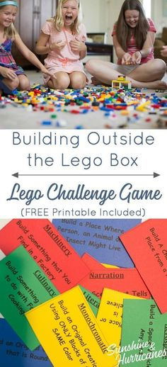 Get your kids thinking outside the lego box set with lego games like this lego challenge. Free printable challenge cards included. #legos #legogames #legoprintables #printables #legolearning #homeschool #learnwithlego via @sunandhurricane Indoor Activities, Learning Activities, Kids Learning, Indoor Games, Fun Activities With Kids, Baby Activities, Summer Activities, Lego Duplo, Legos