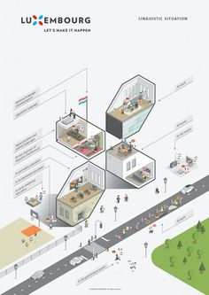 Luxembourg Infographics 2017 on Behance Architecture Graphics, Architecture Drawings, Architecture Portfolio, Concept Architecture, Architecture Presentation Board, Presentation Design, Isometric Design, Web Design, Concept Diagram
