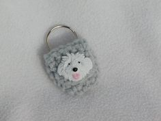 Keychain Coin Cozy  Grey with White Dog by honeybee69 on Etsy, $6.00