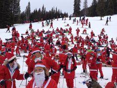 #CrestedButte Santa Crawl 2014. We set the world record for most #skiing santas!