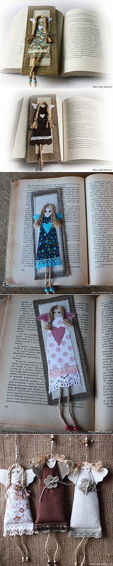 Könyvjelzők a könyvek és a felfüggesztés az angyalokkal.  ötletek