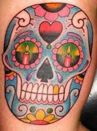 Mexican folk art skull candy tattoo with candles in the eyes and beautiful colors