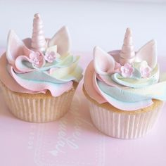 Pastel rainbow unicorn cupcakes from part of today's bakes